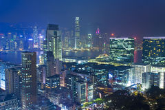 Hong Kong modern city at night Royalty Free Stock Images