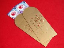 Hong Kong Money 10 dollar rött paket Fotografering för Bildbyråer