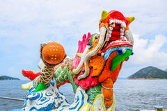 HONG KONG: Mosaic statue of the dragon in Kwun Yam Shrine temple, a Taoist shrine at the southeastern end of Repulse Ba stock image