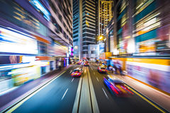 Hong Kong Motion Blur. Hong Kong, China motion blur through the city from a streetcar Royalty Free Stock Photos