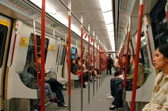 Hong Kong: MRT Subway Train Interior Stock Photography
