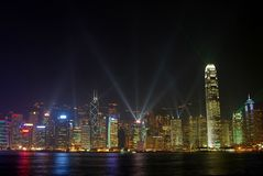 Hong Kong na noite Fotos de Stock