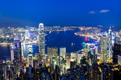 Hong Kong-nacht Royalty-vrije Stock Afbeeldingen