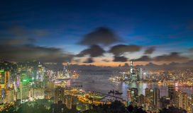 Hong Kong-nachtmening van Piek Stock Fotografie