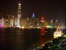 Hong Kong nachts Stockfotografie