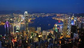 Hong Kong-Nachtszene Lizenzfreie Stockfotos