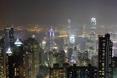 Hong Kong natt över sikt Royaltyfria Foton