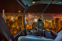 Hong Kong nattflyg Fotografering för Bildbyråer
