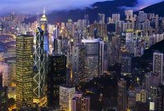 Hong Kong natthorisont Arkivbild