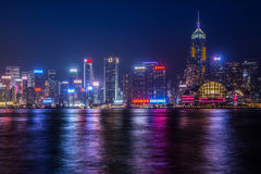 Hong Kong natthorisont Royaltyfri Foto