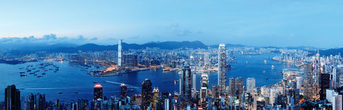 Hong Kong natthorisont Arkivfoto