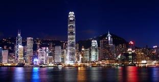 Hong Kong nattplatser Royaltyfri Fotografi