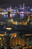 Hong Kong nattplatser Fotografering för Bildbyråer