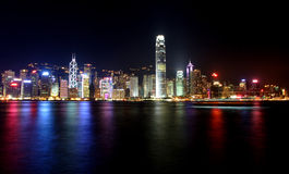 Hong Kong nattplatser Royaltyfri Bild