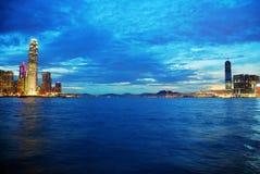 Hong Kong nattsikt fotografering för bildbyråer