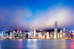 Hong Kong nattsikt Arkivbild