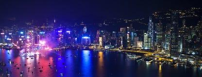 Hong Kong nedräkningfyrverkerier 2013 Arkivbild