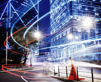 Hong Kong Neonowi światła Buduje dzielnicy biznesu pojęcie Fotografia Stock