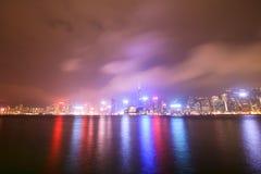 Hong Kong By Night. Hong Kong City Lights By Night Reflecting On Water Stock Photo