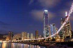 Hong Kong night. Hong Kong at night with highrise buildings Royalty Free Stock Image