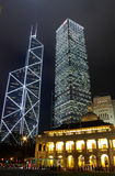 Hong Kong Night. It is night scene of two skyscrapers behind a English building in Hong Kong Stock Image