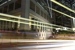 Hong Kong night. Cars motion blurred in Hong Kong Stock Photography