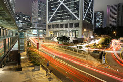 Hong kong night. Cars motion blurred in Hong Kong Stock Image