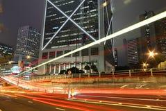 Hong kong night. Cars motion blurred in Hong Kong Stock Photo