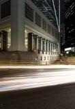 Hong kong night. Cars motion blurred in Hong Kong Royalty Free Stock Image