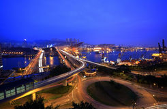Hong Kong night. With highway and container terminals Stock Images