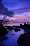 Hong kong night. Scene with rock Stock Images