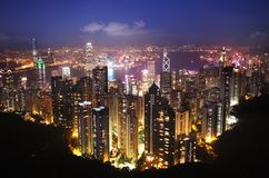 Hong Kong at night. View of Hong Kong at night from Mount Victoria