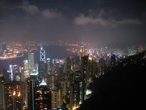 Hong Kong at Night. View of buildings at the foot of Victoria Peak in Hong Kong during nighttime Royalty Free Stock Image