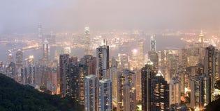 Hong Kong at night. Panorama stock image
