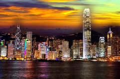Hong kong at night. View of the skyscrapers of hong kong from kowloon island Royalty Free Stock Photos