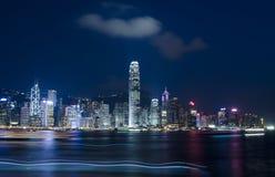 Hong Kong night. Night scene in Hong Kong island with boat light Royalty Free Stock Image