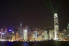 Hong Kong at night. Hong Kong Island at night photographed from Kowloon stock images