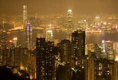 Hong Kong Night Royaltyfri Fotografi