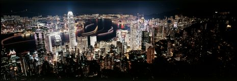 Hong Kong night. Photographed by 6x17 camera Royalty Free Stock Image