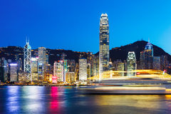 Hong Kong at night from across Victoria Harbor Royalty Free Stock Photos