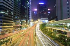 Hong kong night. Brilliant traffic flow, hong kong city Stock Image