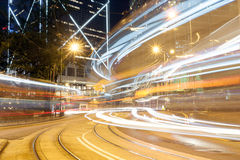 Hong Kong Night Car Trail Fotografie Stock