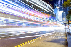 Hong Kong Night Car Trail Immagine Stock Libera da Diritti