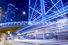 Hong Kong Night Car Trail Fotografie Stock Libere da Diritti