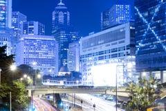 Hong Kong Night Car Trail Immagine Stock