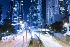 Hong Kong Night Car Trail Fotografia Stock
