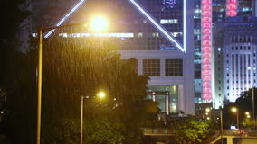 Hong Kong. Night and Downpour. Hong Kong. Night city, architecture and traffic. A heavy downpour stock footage