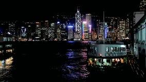 Hong Kong at night stock video footage