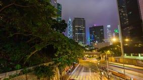 Hong kong night illumination traffic street bridge panorama 4k time lapse china stock video