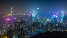 Hong Kong Night-Inselansicht Timelapse stock footage